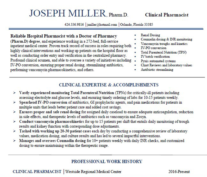 Resume Example  Rxelite Resumes