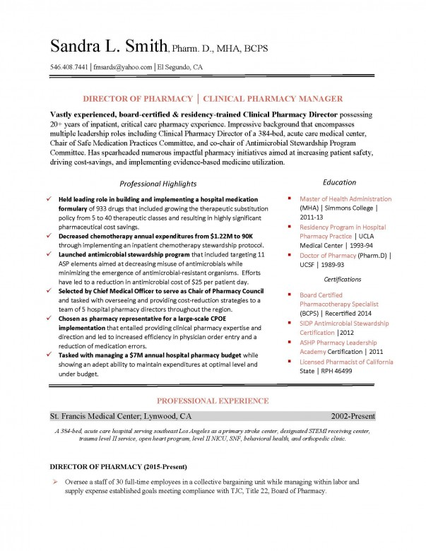 Pharmacy Resume pharmacy resume samples Clinical Pharmacy Resume Example Pharmacy_director_example_page_1