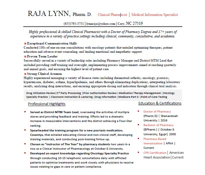 Rajalynn  Clinical Pharmacist Resume